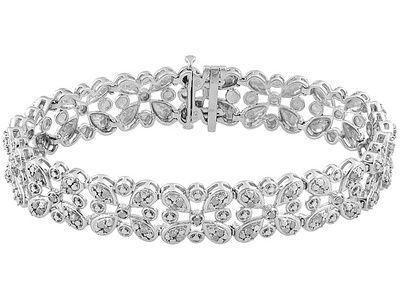 .76ctw Round Diamond Rhodium Over Sterling Silver Bracelet