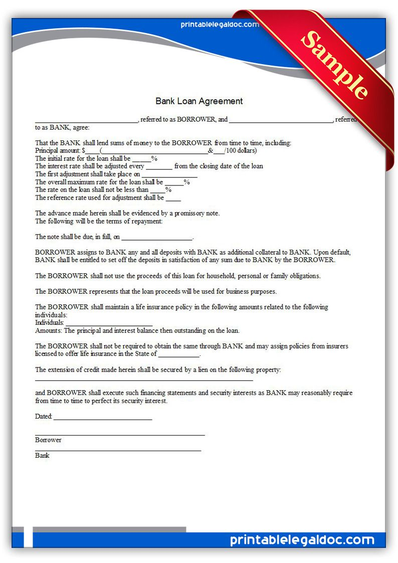 Free Printable Bank Loan Agreement  Sample Printable Legal Forms