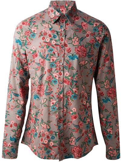 GUCCI - Camisa floral vermelha Stampe Floreali e6fa7b9b857
