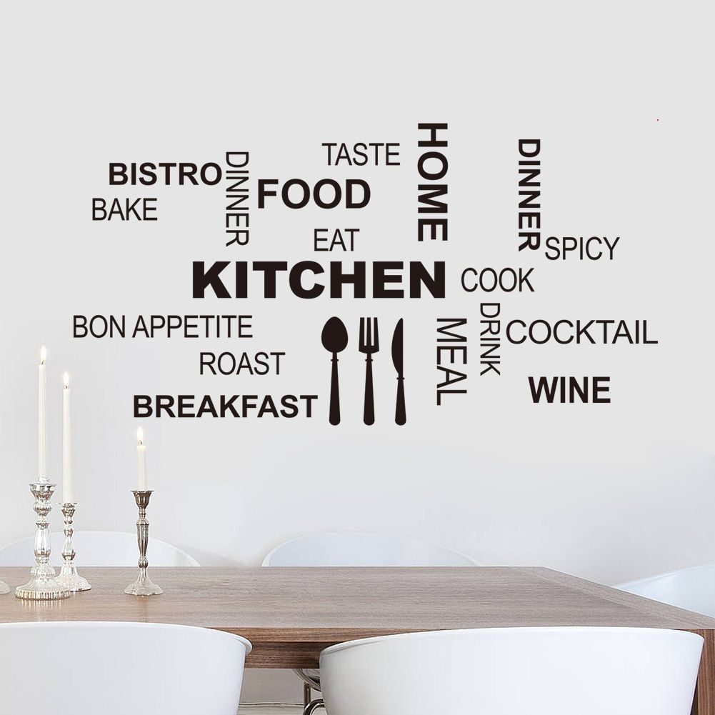 Kitchen Letters For Wall New Creative Vinyl Removable Kitchen Letter Quotes Wall Stickers