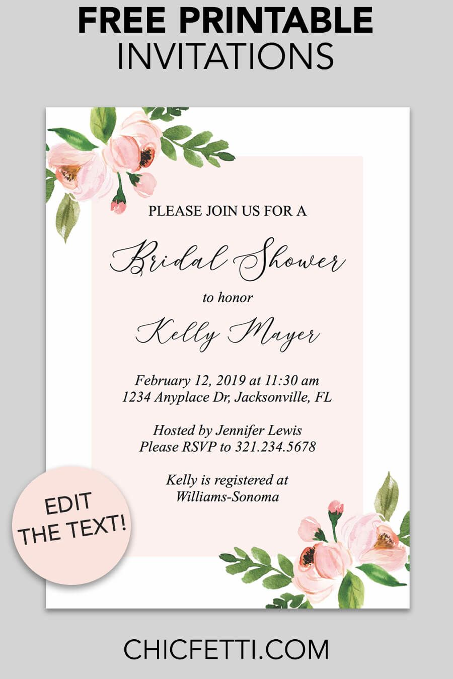 image relating to Free Printable Bridal Shower Invitations titled Bridal Shower Printable Invitation (Light-weight Crimson Floral Free of charge