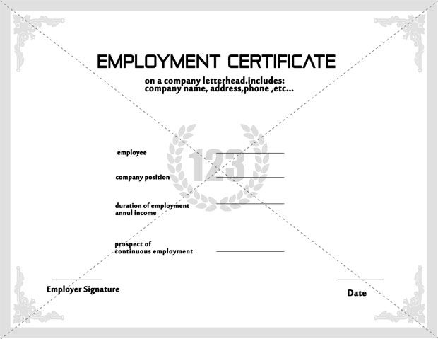 New Employment Certificate Sample For Visa Application Image New
