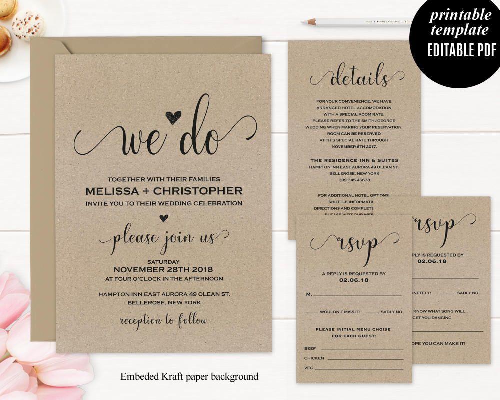 Kraft Paper Wedding Inivtation Set Template Printable Modern