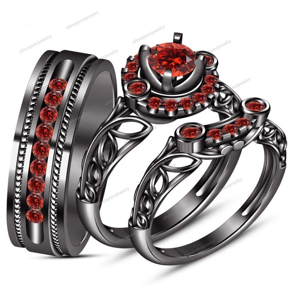 Round Garnet 14k Black Gold GP 925 Silver Bride & Groom Wedding Trio Ring Set #Silvergemsjewelry #WeddingEngagementAnniversaryBrithdayGiftGift