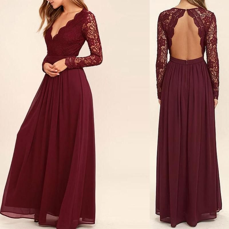 V-neck Long Sleeve See Through A-line Chiffon Bridesmaid Dresses ...