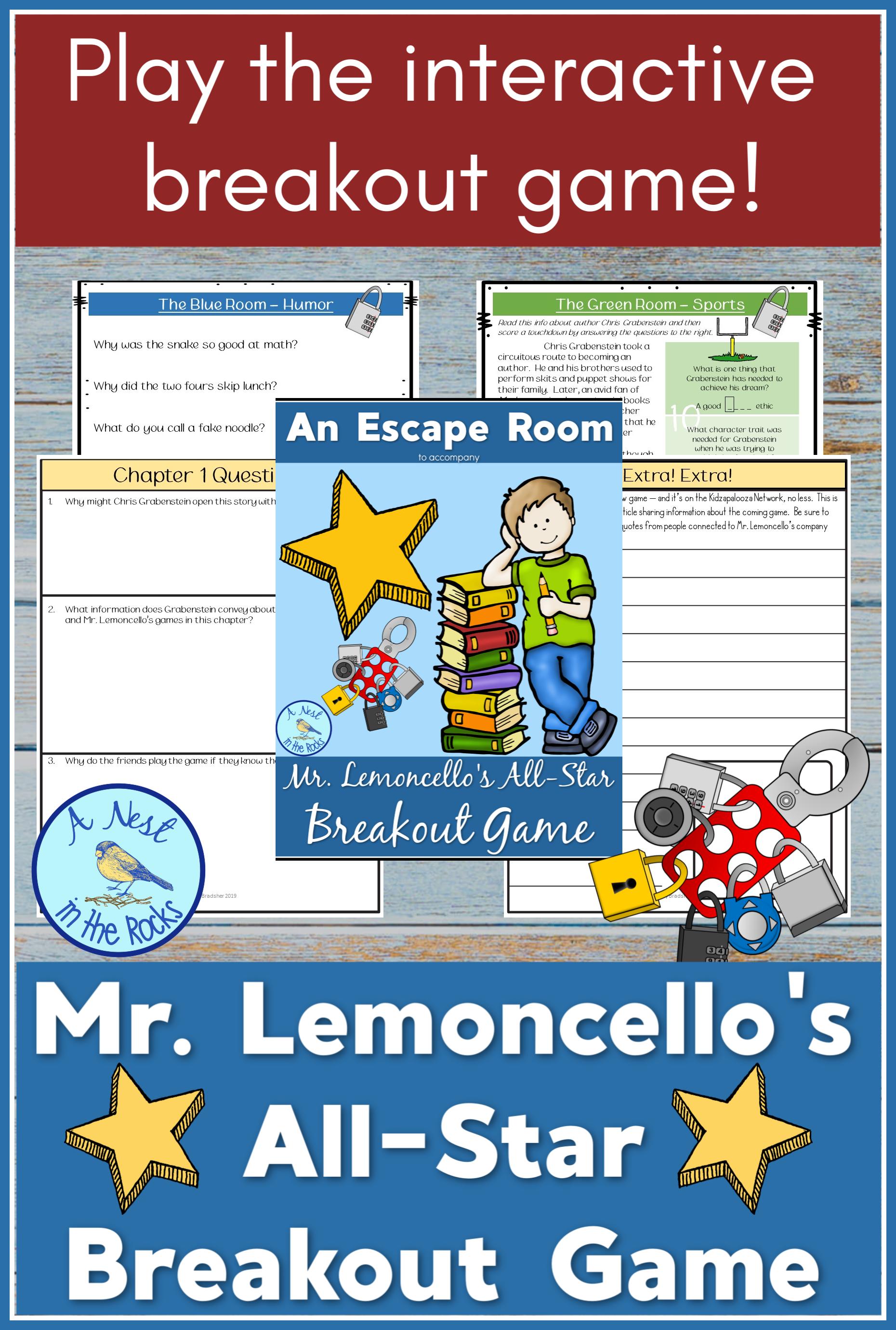 Ela Resources An Escape Room For Mr Lemoncello S All