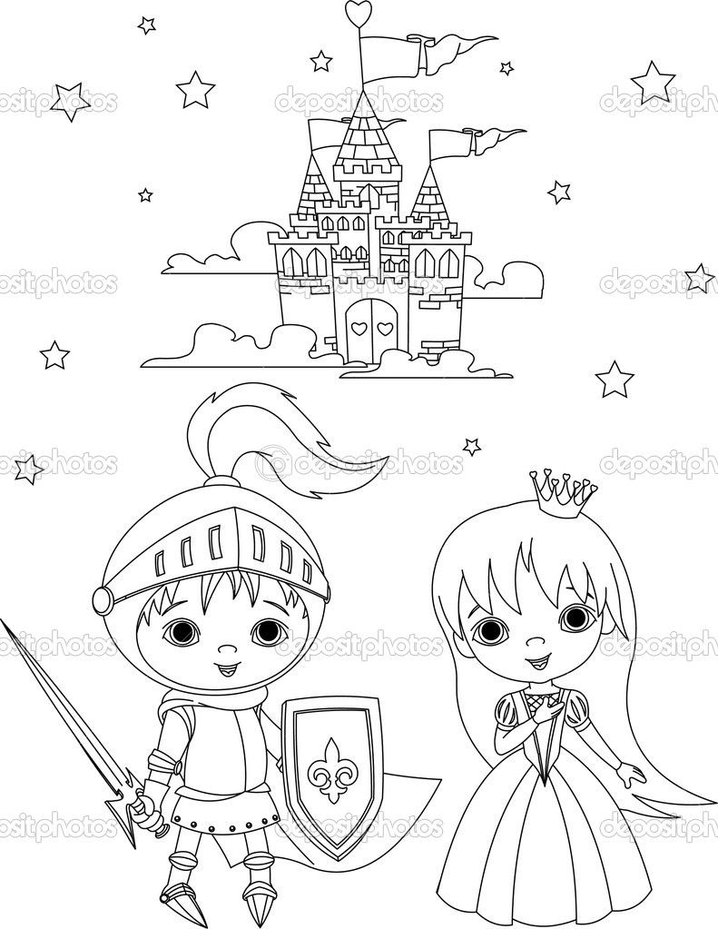 Coloriage princesse chevalier atelier enfants for Image chateau princesse