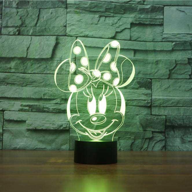 Minnie Mouse 3D Illusion Lamp | Led und Acryl