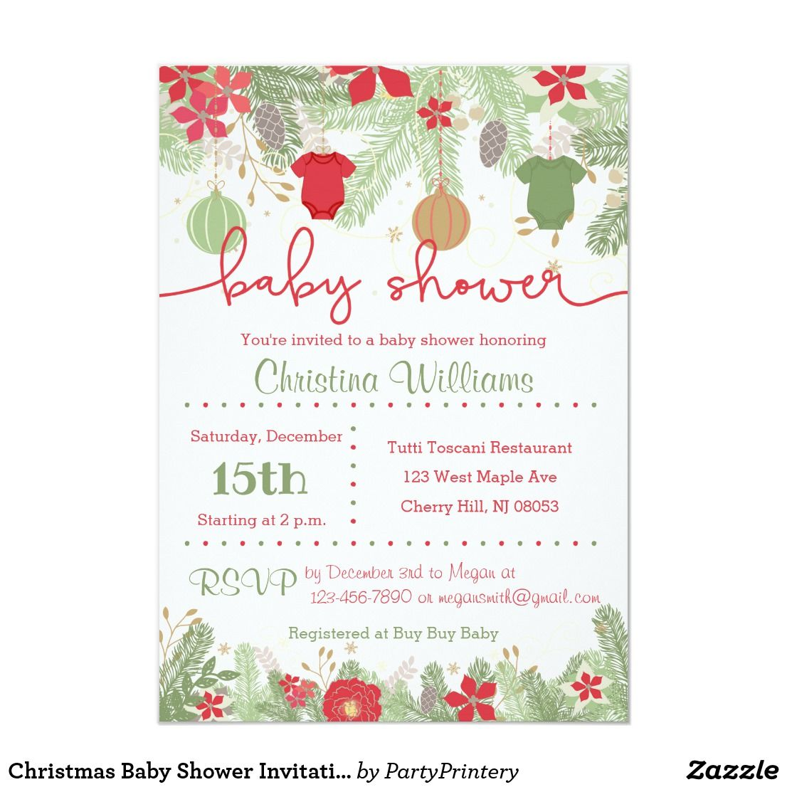 Christmas Baby Shower Invitations Zazzle Com In 2019