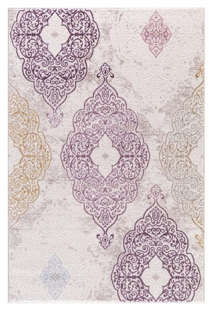 Beige Purple Gold Damask Carpet Transitional Discount Area Rugs 5x8