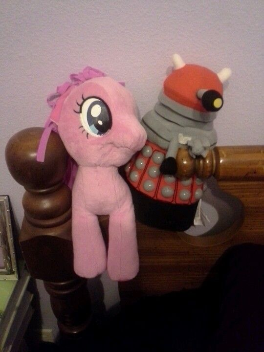 Unlikely pals. My Little Dalek: Extermination is Magic