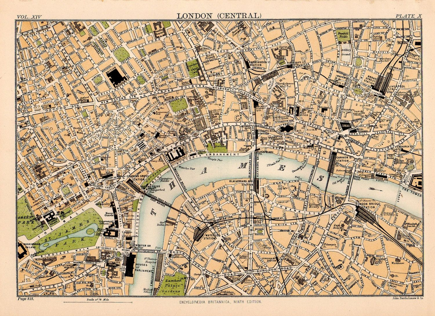 Map Of Central London To Print.1889 Map Central London Historical Print Thames River Illustration