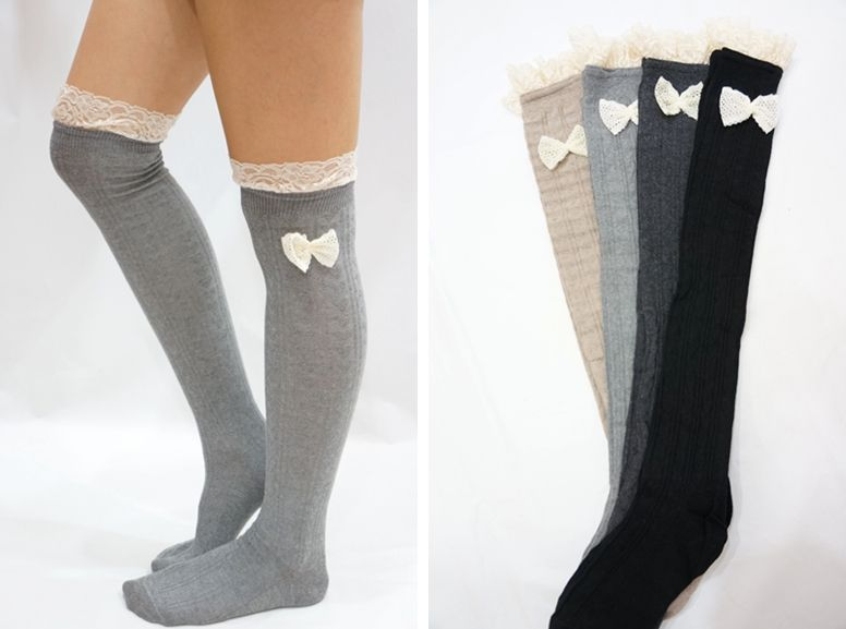 435e9b9e80379 Lace Bow Side Knee High Lace Boot Socks - Light Grey - Thumbnail 2 ...