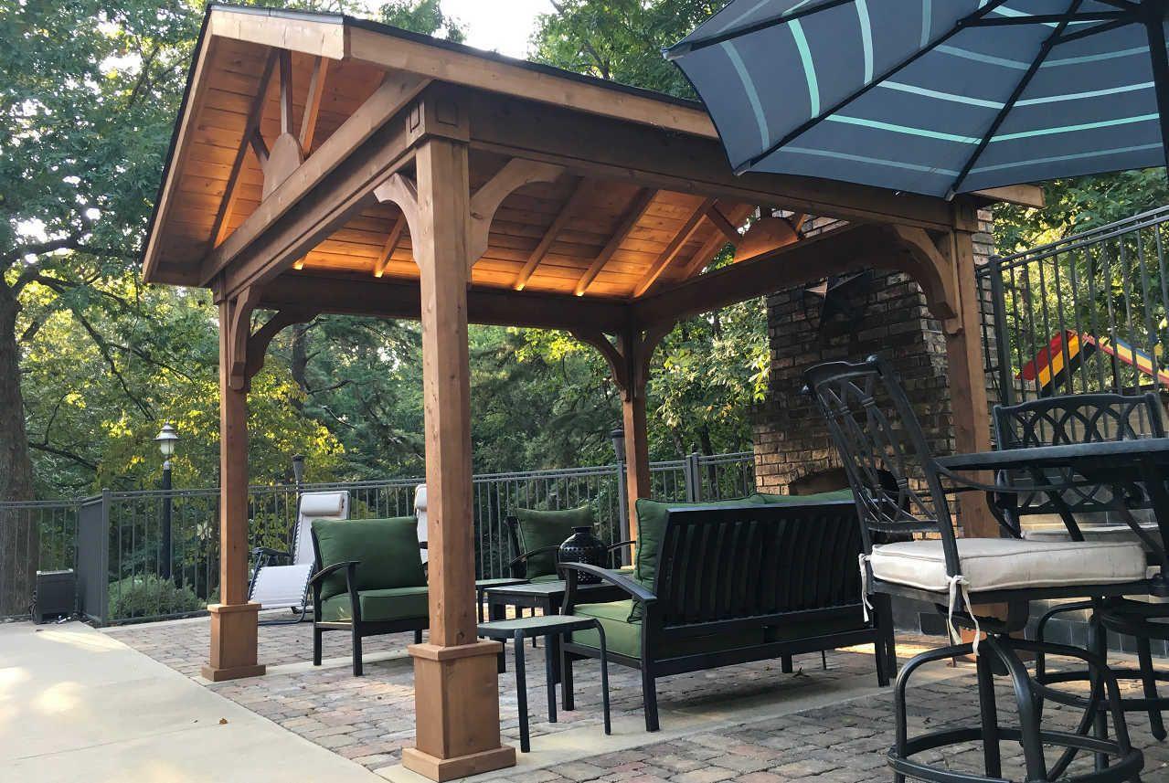 Red Cedar Gabled Roof Pavilion Outdoor pergola, Backyard