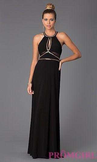 Floor Length Sleeveless Black Dress at PromGirl.com