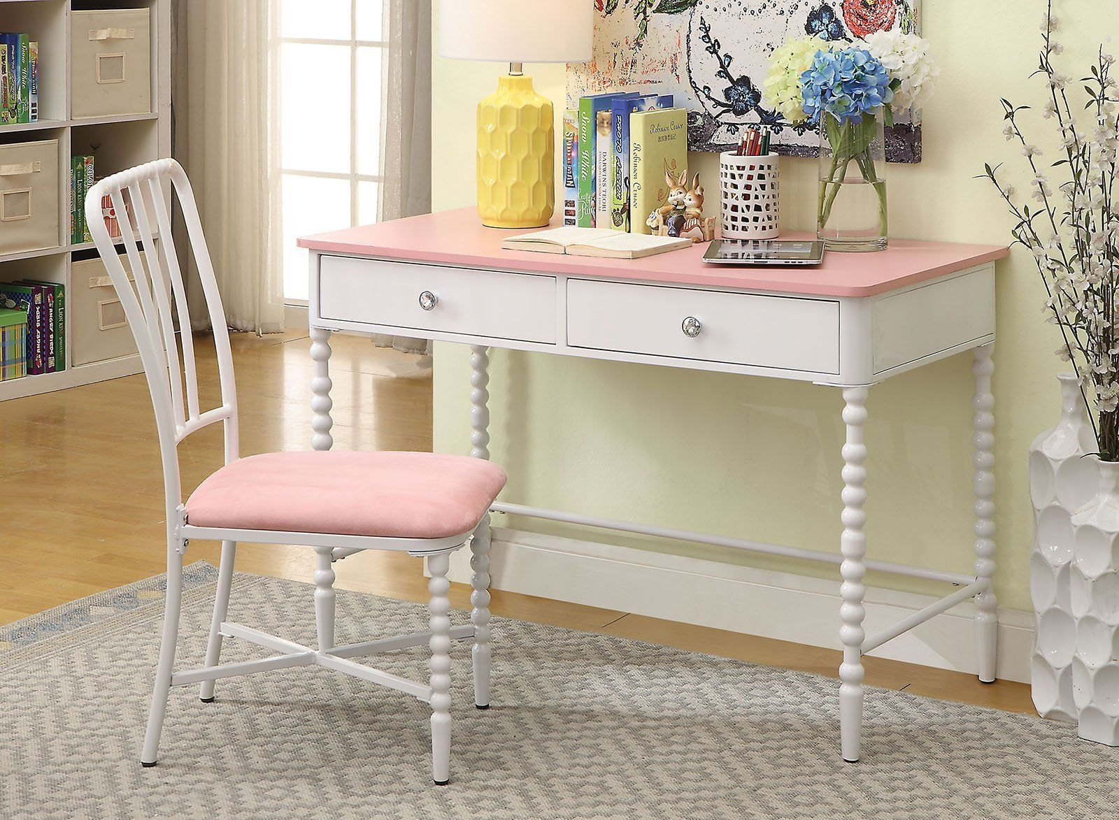 Miraculous Two Drawer Metal And Wooden Desk With Matching Chair Pink Alphanode Cool Chair Designs And Ideas Alphanodeonline