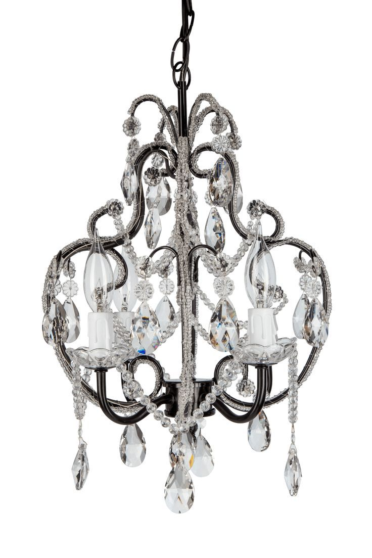 4 light beaded crystal plug in chandelier black chandeliers 4 light beaded crystal plug in chandelier black aloadofball Gallery