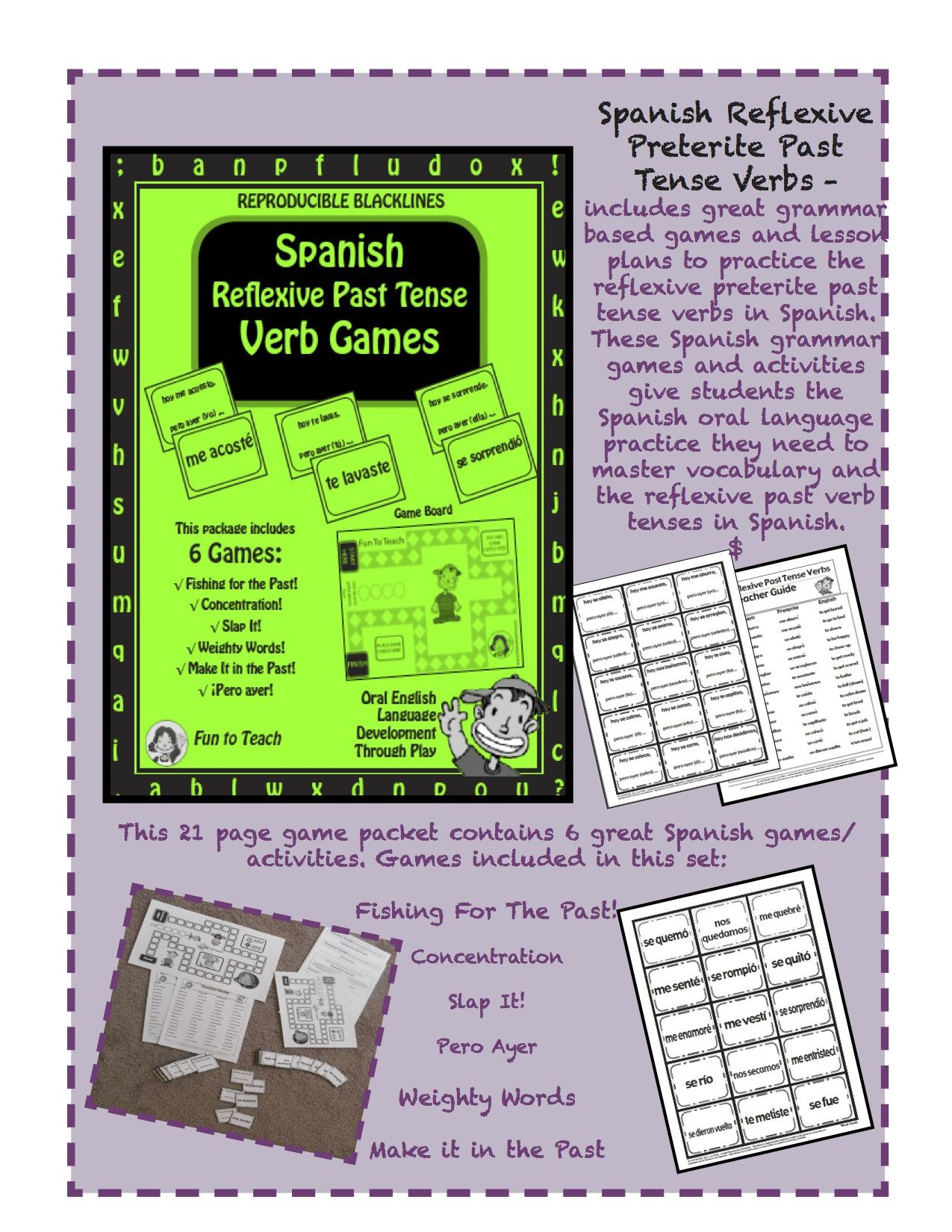 Spanish Preterite Past Tense Verbs- Games and Lesson Plans (Spanish Edition)