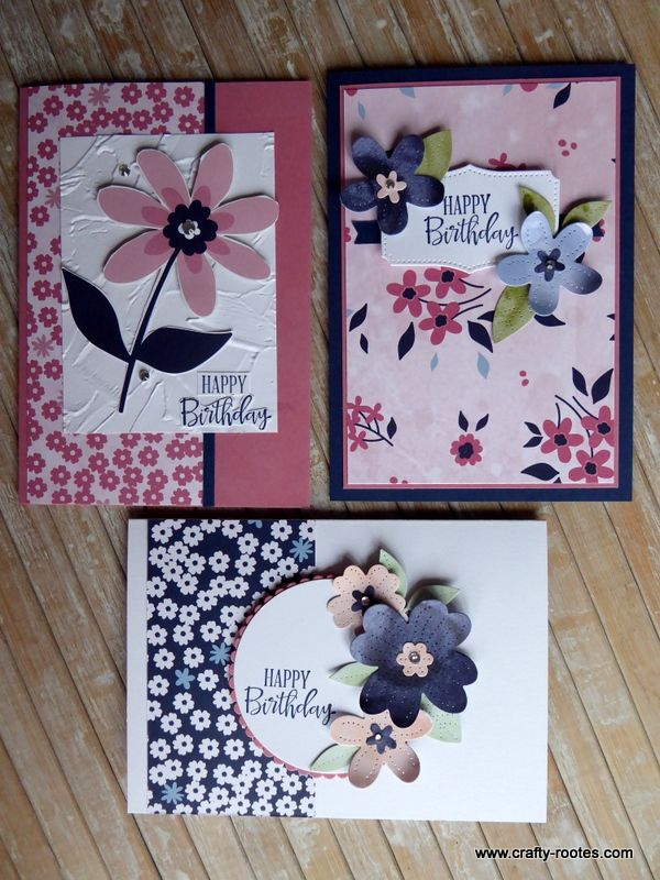 Paper Blooms card in the mail class - Crafty-roote