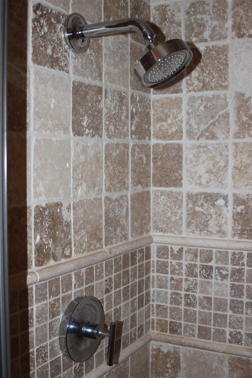 Tiled shower stall | ... Master Bath shower stall (travertine tile ...