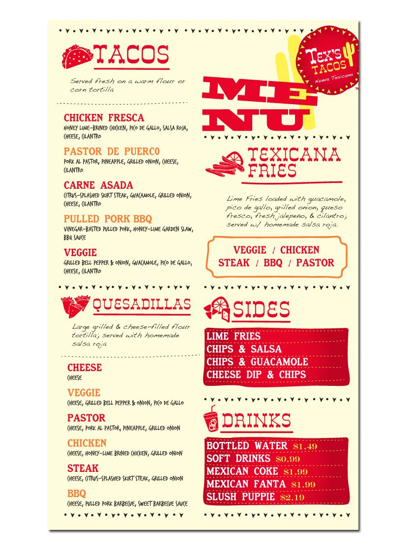 tex s tacos food truck fun creative menu design illustration