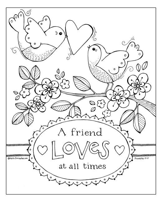 A Friend Loves At All Times Coloring Sheet Valentine Coloring