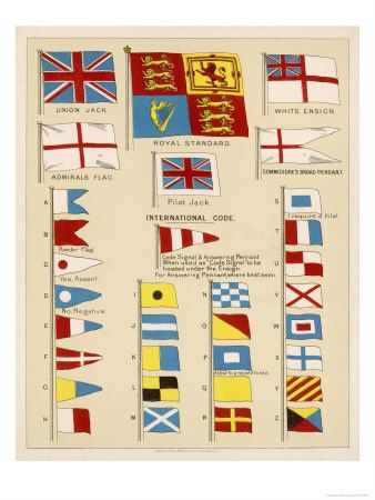 Some Of The Signal Flags Of Royal Navy Including The Royal Standard White Ensign Union Jack Giclee Print Art Com Signal Flags Flag Union Jack