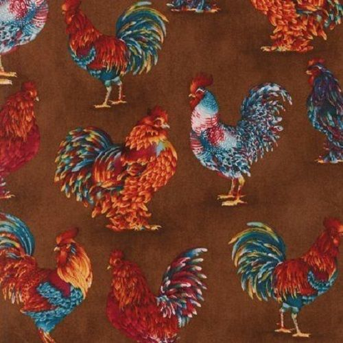 """34"""" x 44"""" Last Piece Chickens Poultry CHANTECLAIRE ROOSTERS Robert Kaufman  #RobertKaufman"""