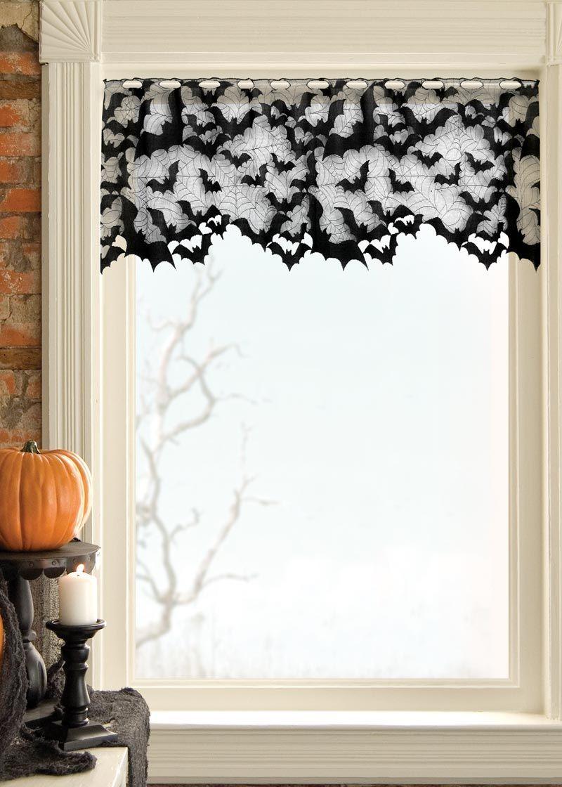 Going Batty Valance Heritage Lace Halloween window