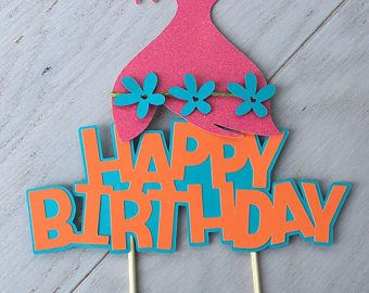 Trolls Cake Topper Happy Birthday Party Decoration