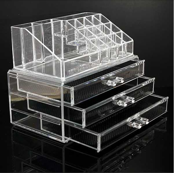 Clear acrylic 3 drawers cosmetic makeup display storage for Beauty table organiser