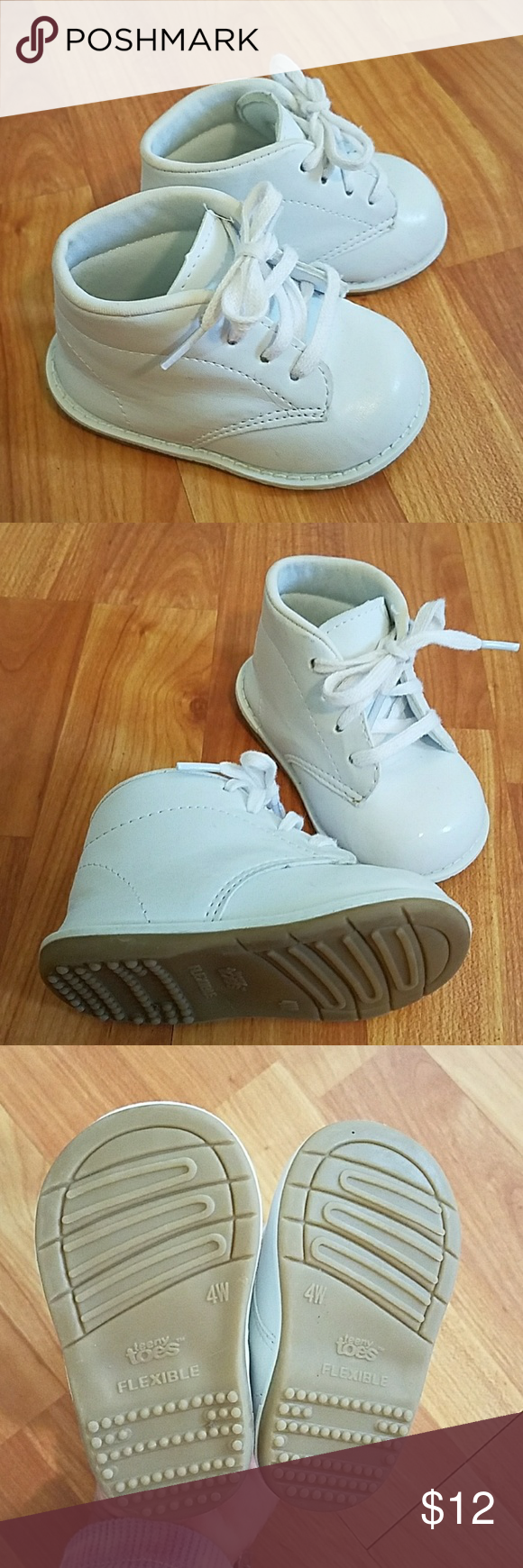 Teeny Toes White High Top Baby Shoes - Size 4W