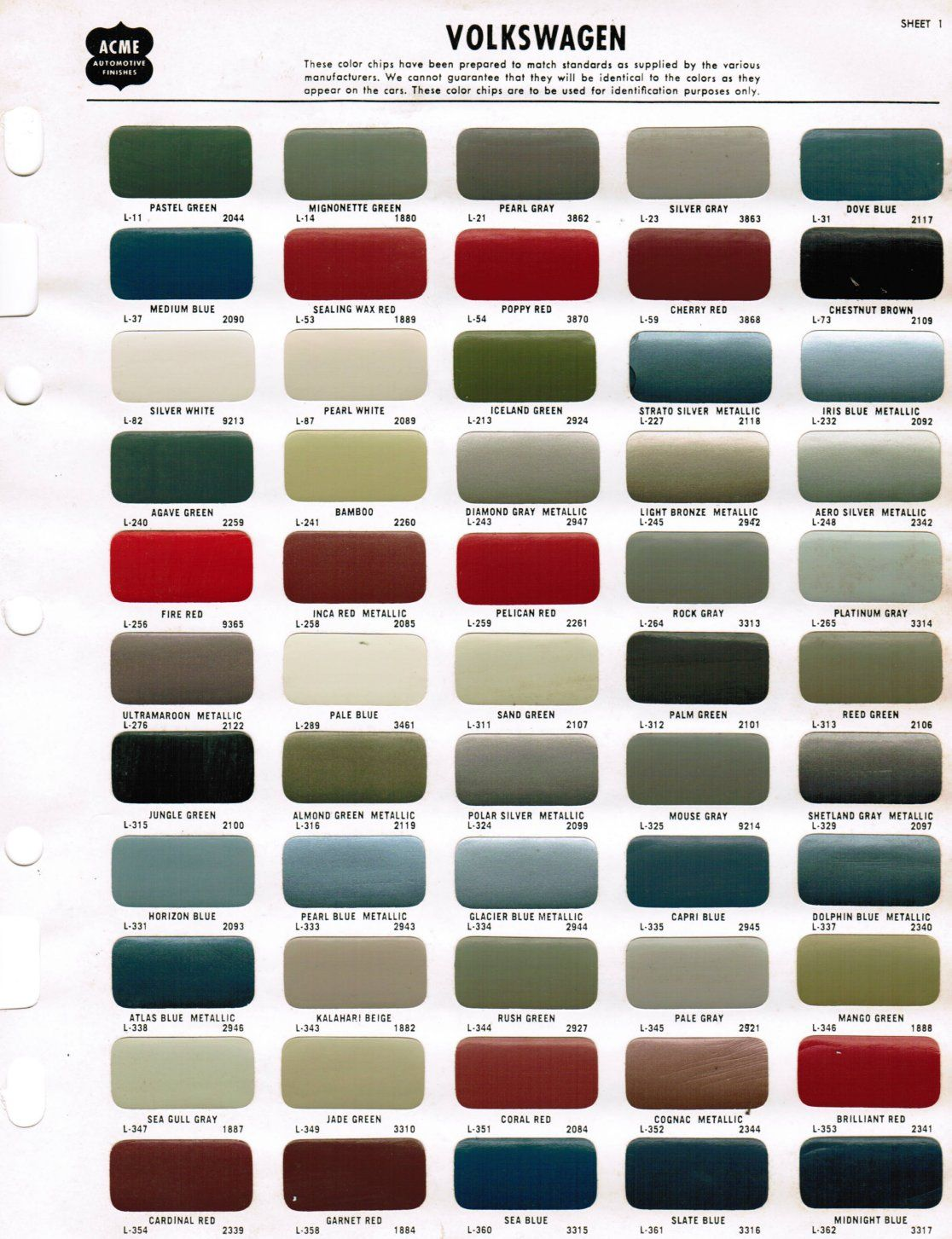 New Nason Automotive Paint Color Chart Volkswagen Beetle Volkswagen Beetle Vintage Volkswagen