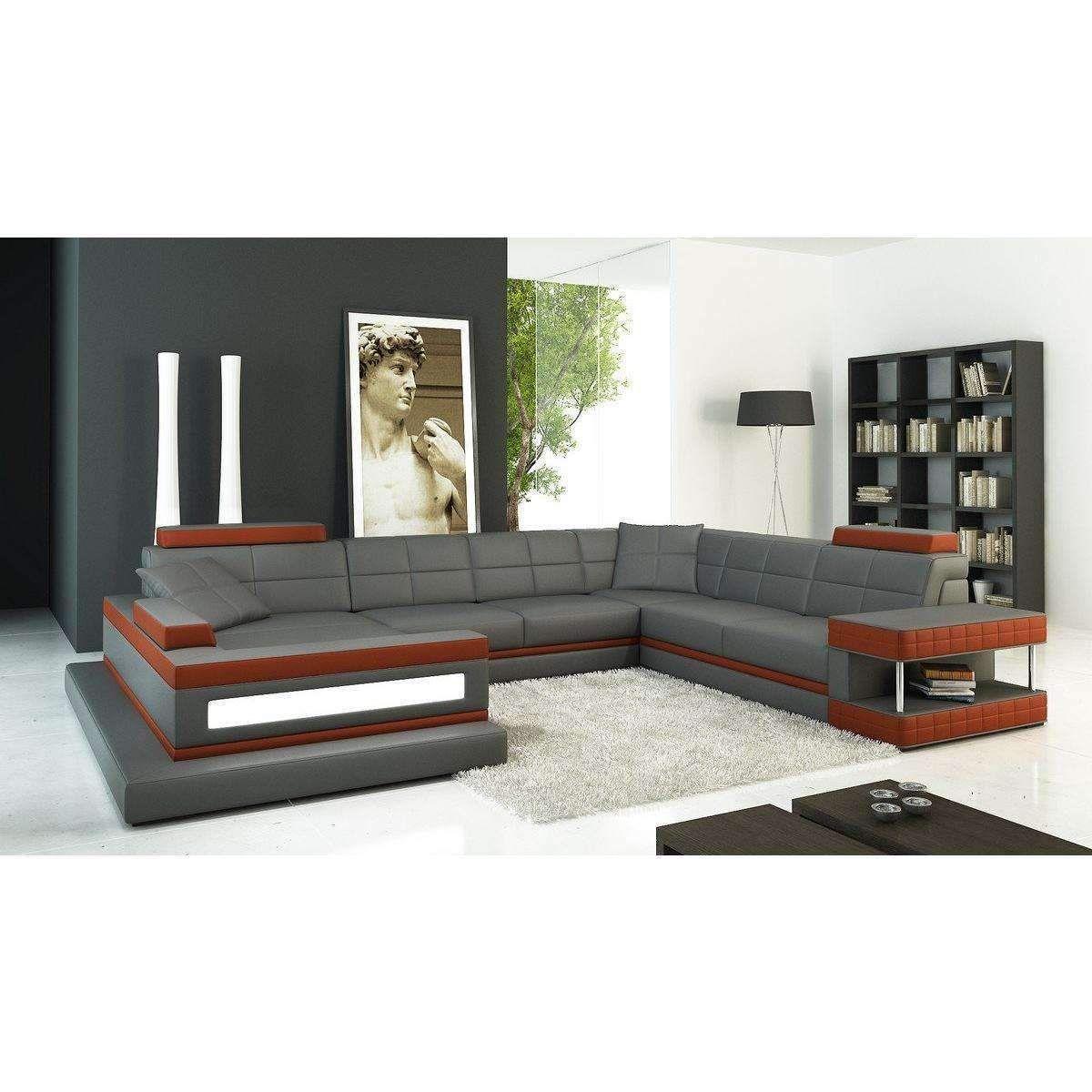 Divani Casa 5079 Grey and Dark Orange Bonded Leather Sectional Sofa