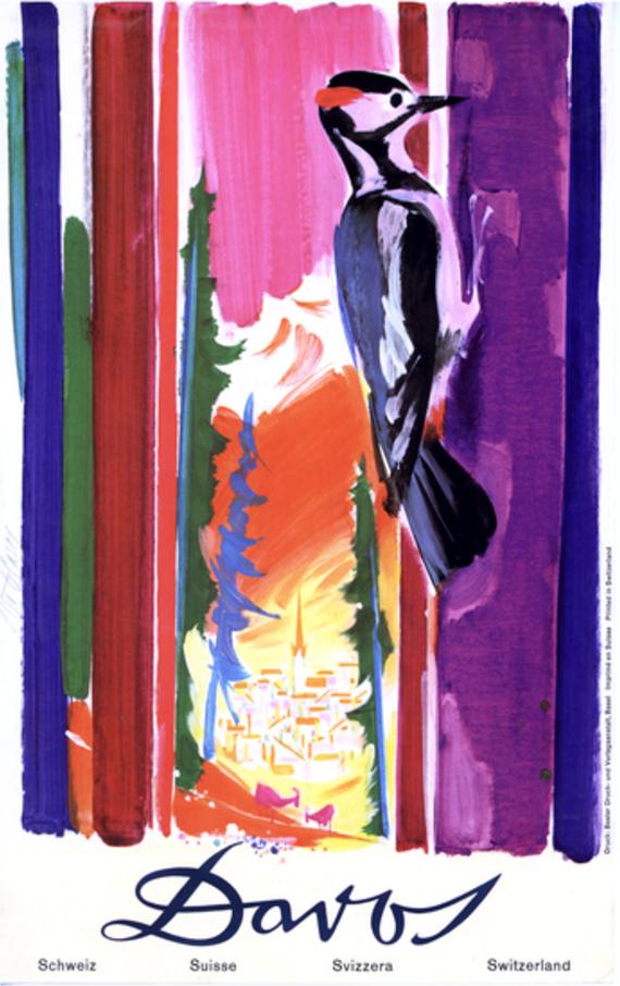 Otto Glaser (1915-1991, Swiss), 1956, Travel Poster, Davos, Print by Druck und Verlagsanstalt, Basel, 102 x 64 cm.