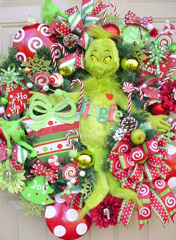 Who Stole Christmas-Grinch Candy Cane Colorful and Full Wreath, Lime