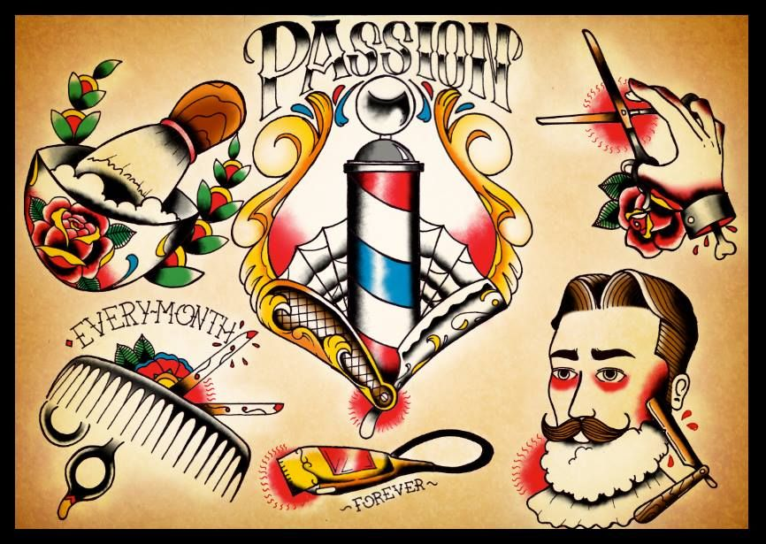 Barber shop tattoo flash inspiring tattoos flashes for Tattoo shops 24 hours