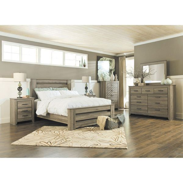 Zelen 5 Piece Bedroom Set is part of Gray bedroom Furniture - Bring the rustic beauty of vintage casual design into your home with the Zelen 5 Piece Bedroom Set from the Zelen Bedroom Collection by Ashley Furniture  Zelen 5 Piece Bedroom Set by Ashley Furniture  Set includes bed, dresser, mirror, chest, and nightstand, Warm gray sophisticated vintage finish with white wax effect over replicated oak grain  Bed has modern styled deep panel bed enhanced with horizontal pocket details  Assembly required if not delivered by AFW