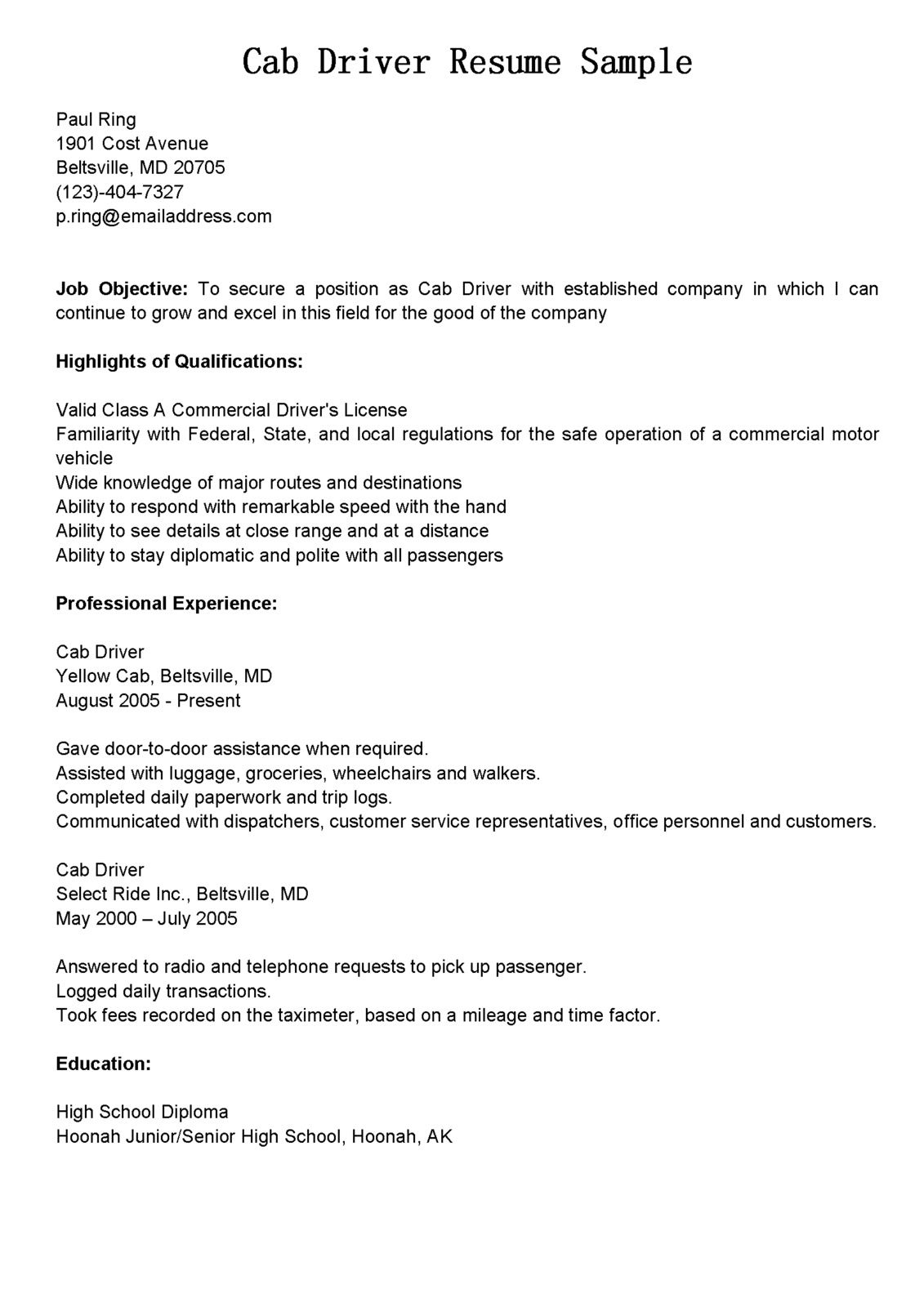 Pin By Pat Alma On Taxi Resume Cab Driver Sample Resume