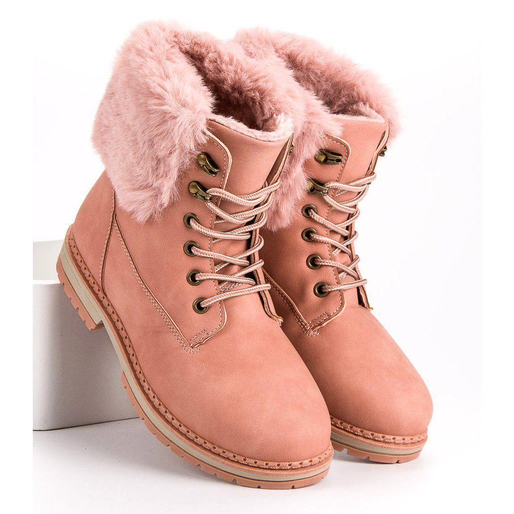 Sds Rozowe Trapery Z Futerkiem Boots Timberland Boots Shoes