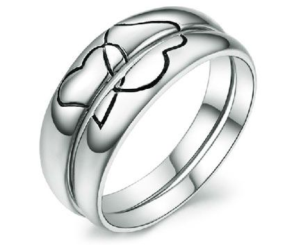 Black Engraved Heart 2 Heart Cheap Couples Wedding Bands His and