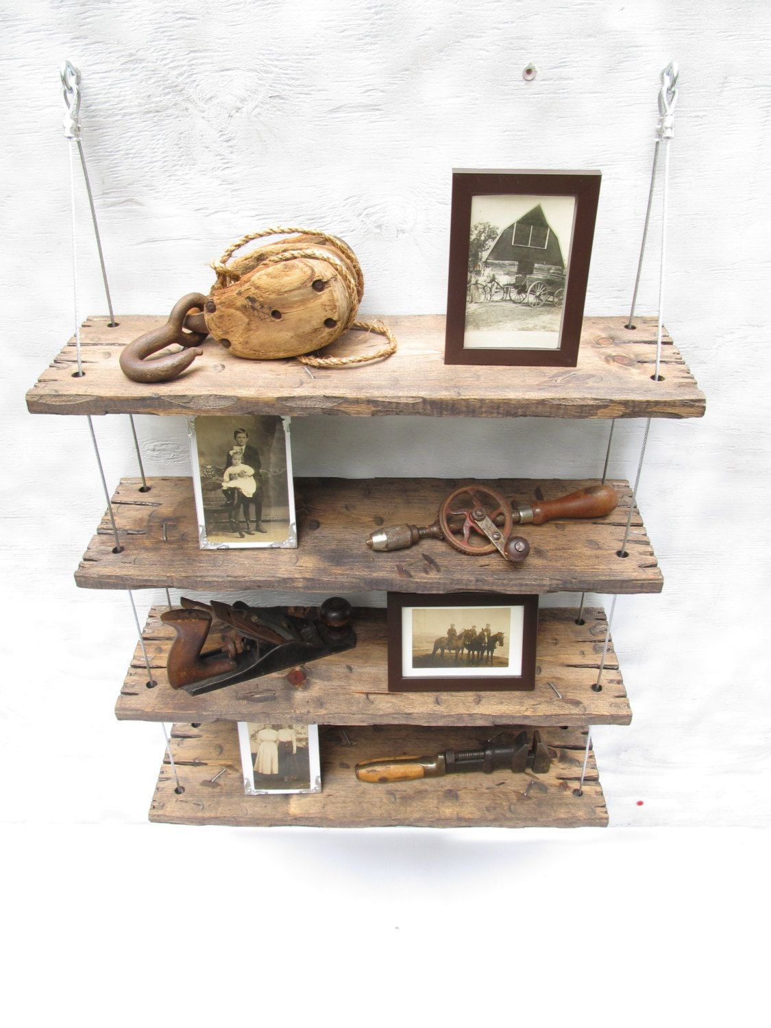 Rustic shelves distressed shelf barn wood by designershelving 229 00