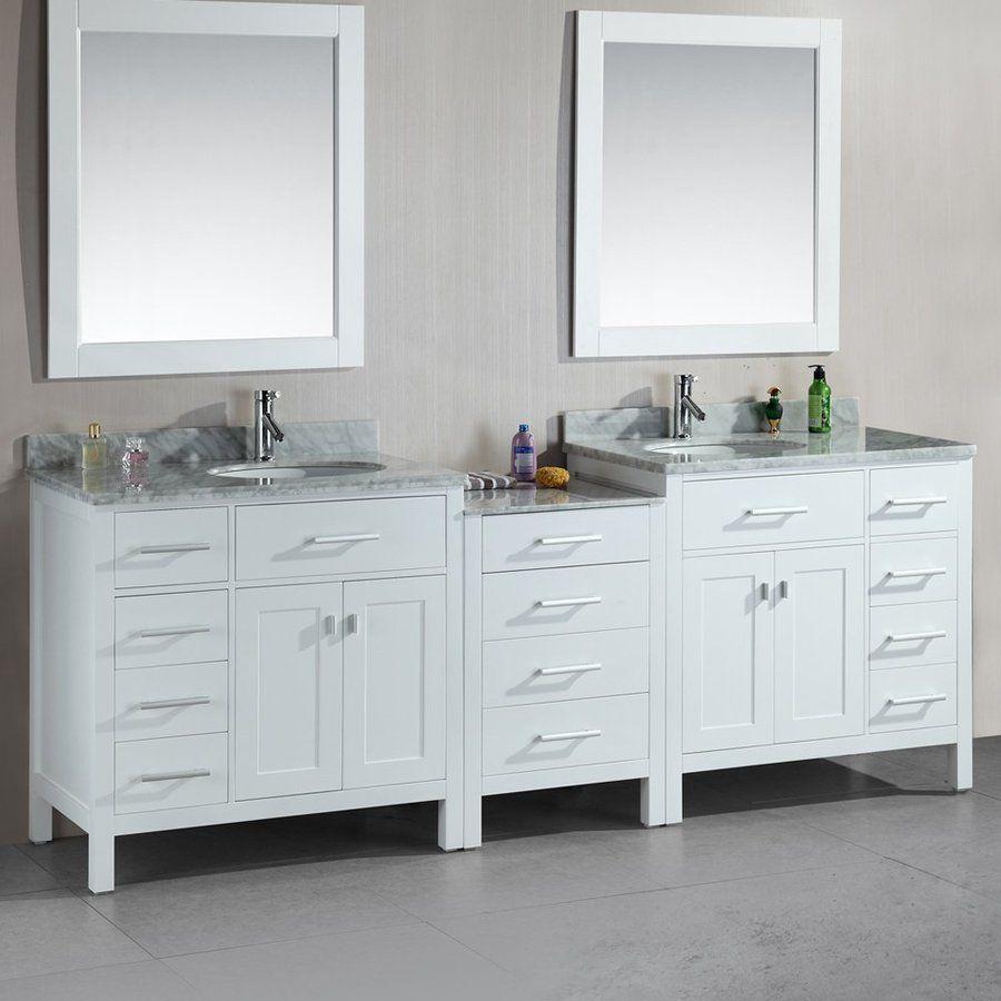 Design Element London White Undermount Double Sink Bathroom Vanity
