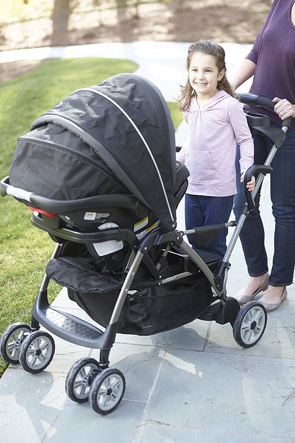 Amazon Com Graco Roomfor2 Click Connect Stand And Ride Stroller Gotham Baby Http Amzn To 2sp1ma5 Double Strollers Stroller Graco Stroller