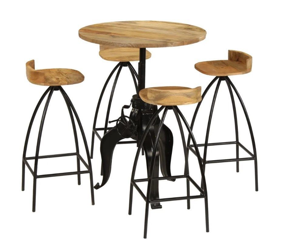 H4home Vintage Industrial Bar Table With 4 Stools Set Solid Mango