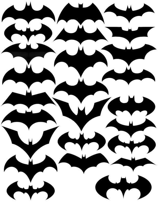 Variations Of The Bat Symbol  Bats Symbols And Bat Template