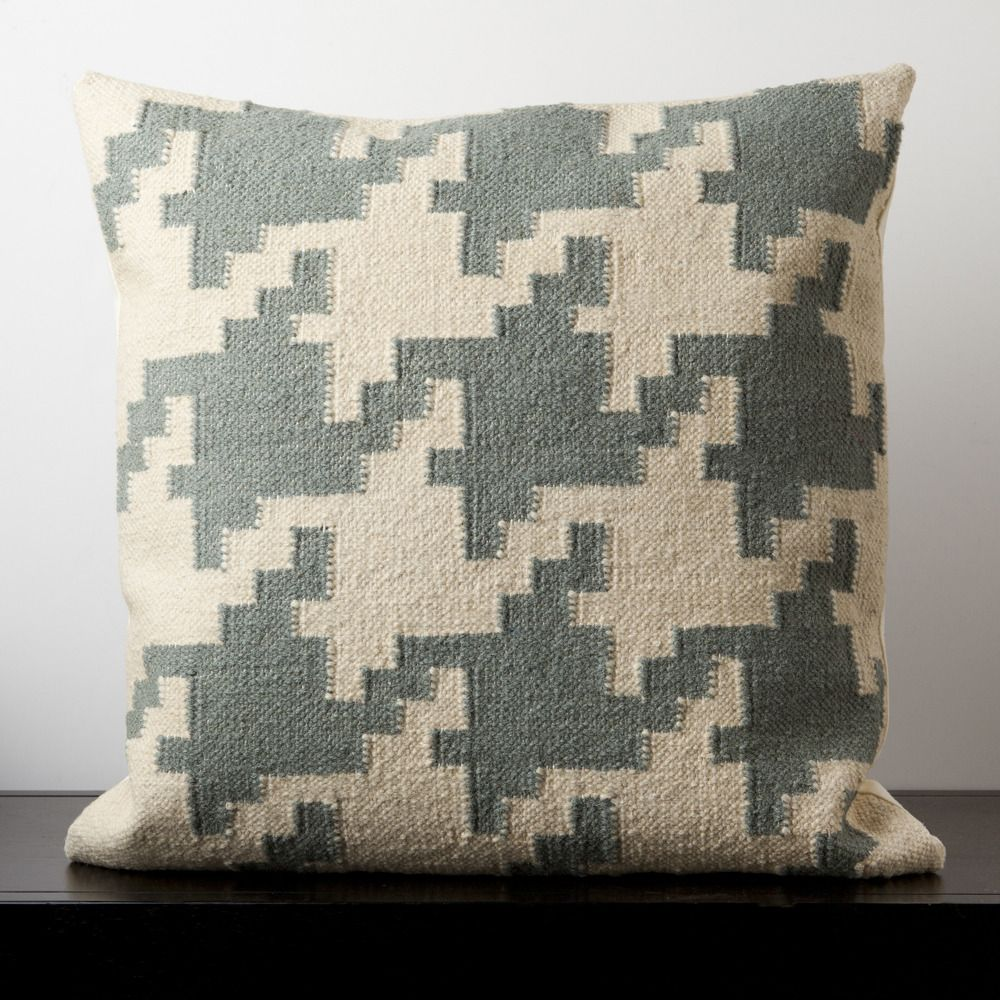 Always in style, this pillow is accented by a houndstooth pattern. Colors of papyrus and slate blue give it a soft touch. This pillow contains a poly fill and a zipper closure. Add this 20
