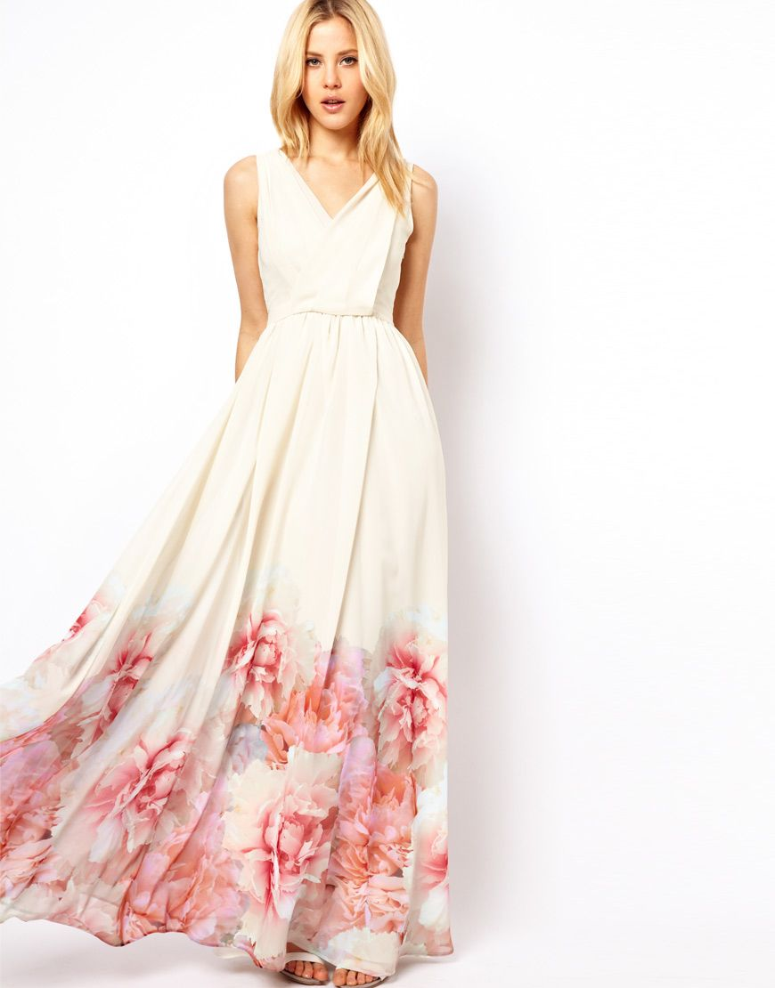 c9823681d0e Mango Maxi Dress with floral hem
