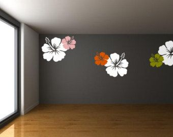 A Set Of 6 Hawaiian Hibiscus Flowers Vinly Wall Art