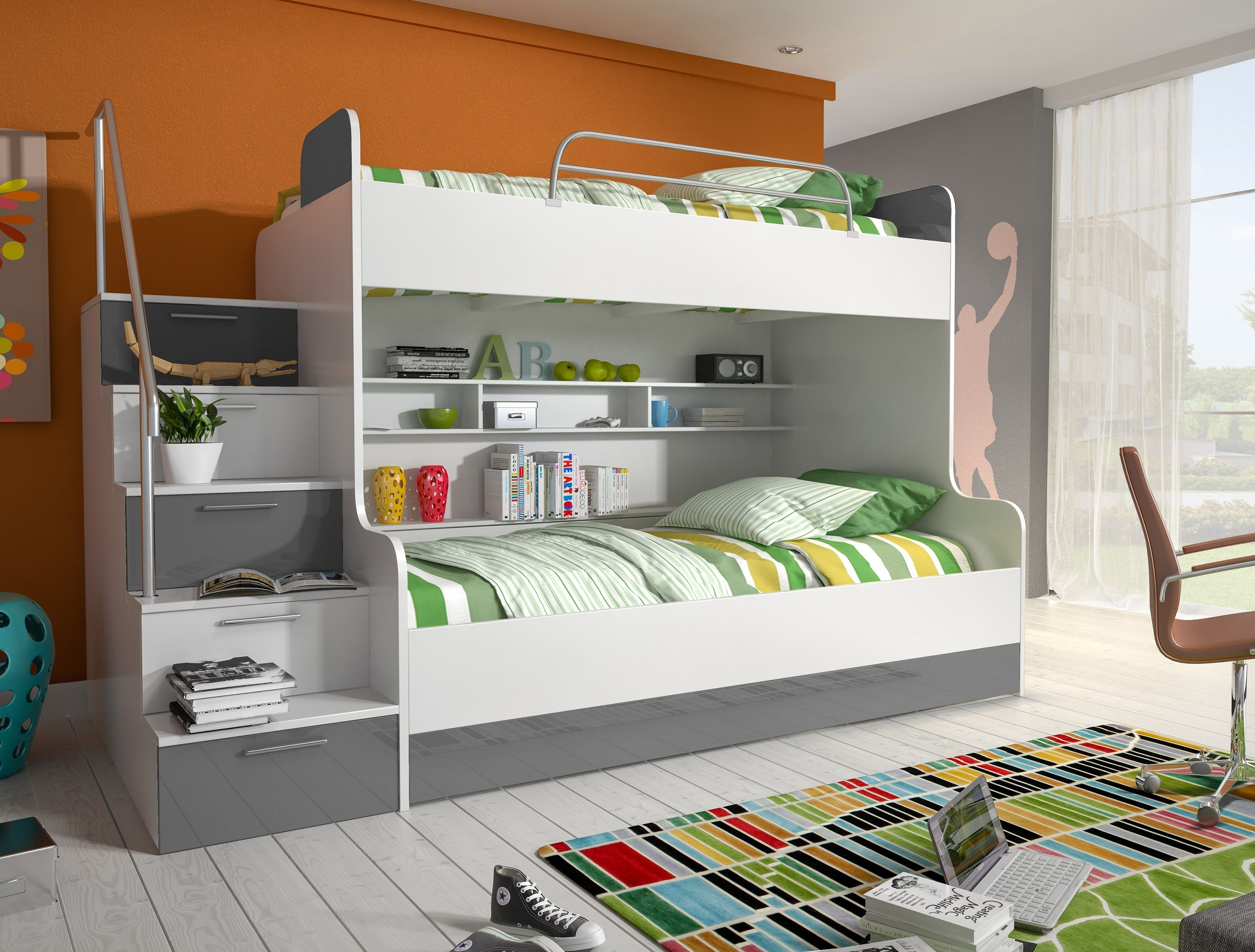 etagenbett kinderbett beto mit seitlicher treppe links etagenbett kinder weiss grau etagen. Black Bedroom Furniture Sets. Home Design Ideas
